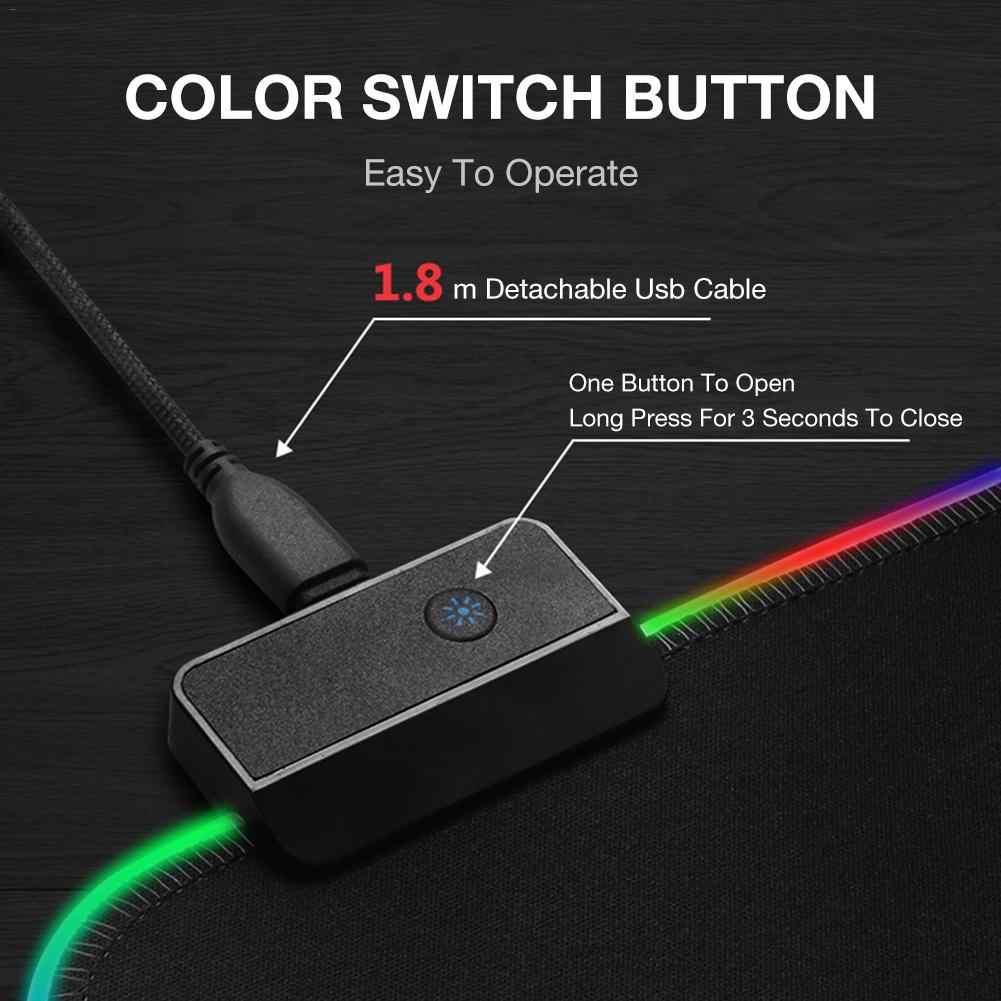 Большой игровой коврик для мыши, светящийся светодиодный, расширенный, с подсветкой, usb-клавиатура, утолщенный, цветной, светящийся, настольные резиновые коврики для мыши