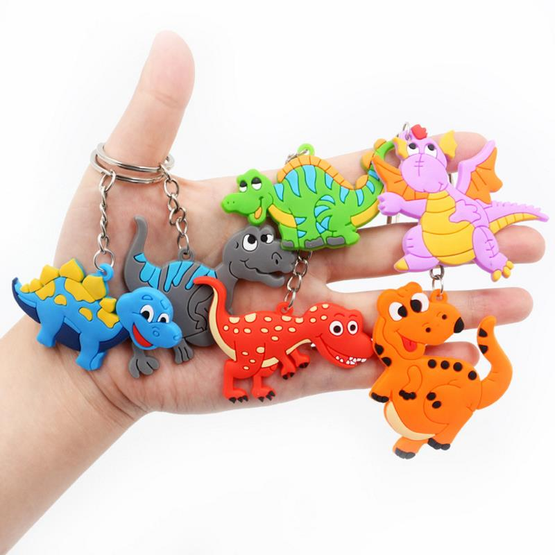 6 Pcs/set Creative Cartoon Dinosaur keychain Party Favor Pendant Dinosaur theme Key ring Party Decor Kids Gifts