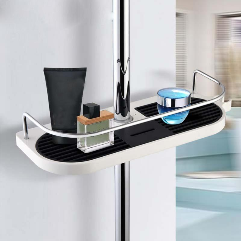 Shower Tray Rack Set Lift Rod Shower Bracket Bathroom Rack Bathroom Shelf Organizer Douche Rek Zuignap Zwart Hoek #4O