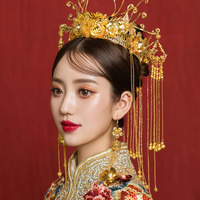 Luxury Wedding Bride Traditional Chinese Hair Accessories Bridal Headdress Gold Tiara Round Crown Hair Jewelry Ornaments Women