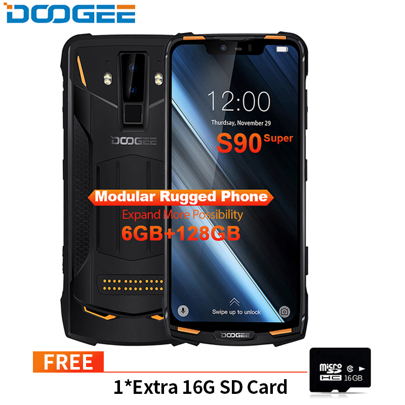 IP68/IP69K (Outdoor BOX) Cellphone DOOGEE S90 Super Modular Rugged Mobile Phone 6.18inch Display 5050mAh P60 Octa Core 6GB 128GB