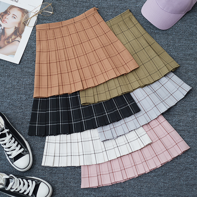 Chic Skirt A-Line Plaid Sweet High-Waist Mini Fashion Women Casual Ladies Summer Kawaii