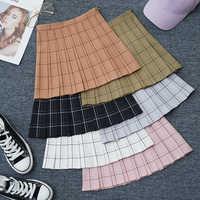 Sweet Women Pleated Skirt Fashion Plaid A-Line Mini High Waist Chic Skirt Kawaii Summer Casual Ladies Plaid Pleated Skirt