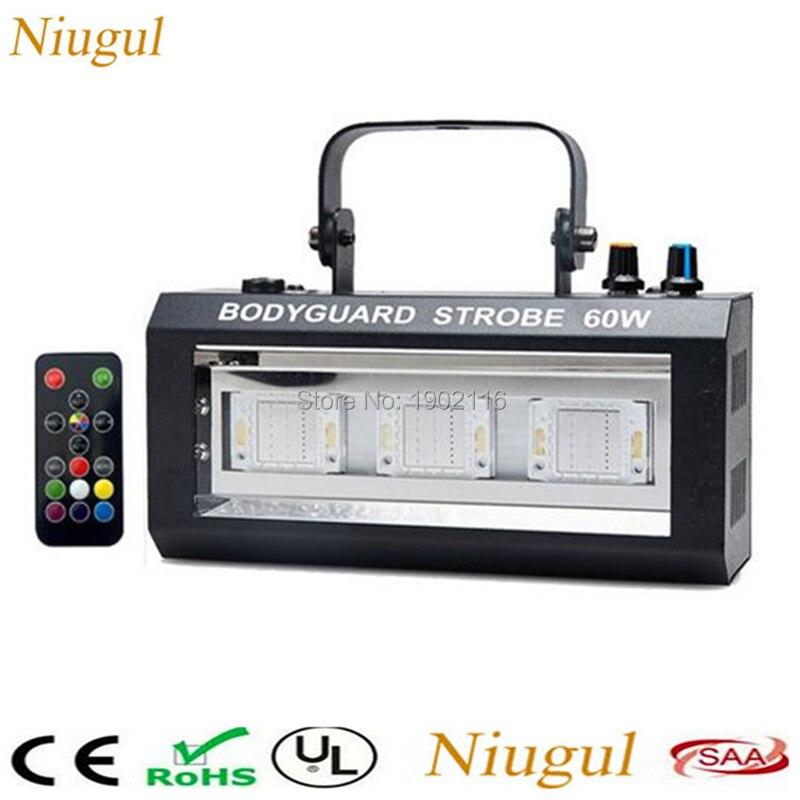 60W RGB Strobe Light Stroboscope LED Disco Strobe Lights Wireless Remote Control DJ Flashing Stage Light