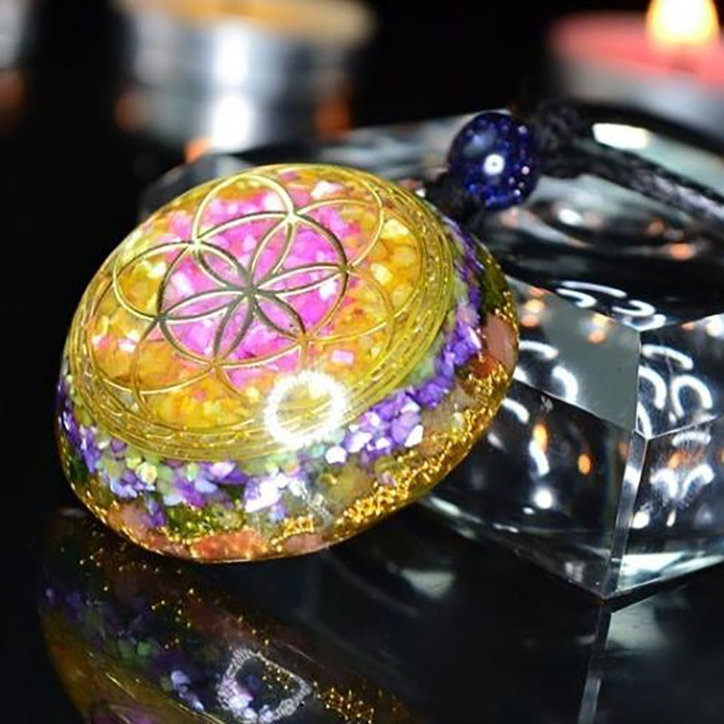 Orgonite Energy Pendant Natural Crystal Necklace Exorcise Evil Spirits Change Luck Eliminates Negative Energy Jewelry
