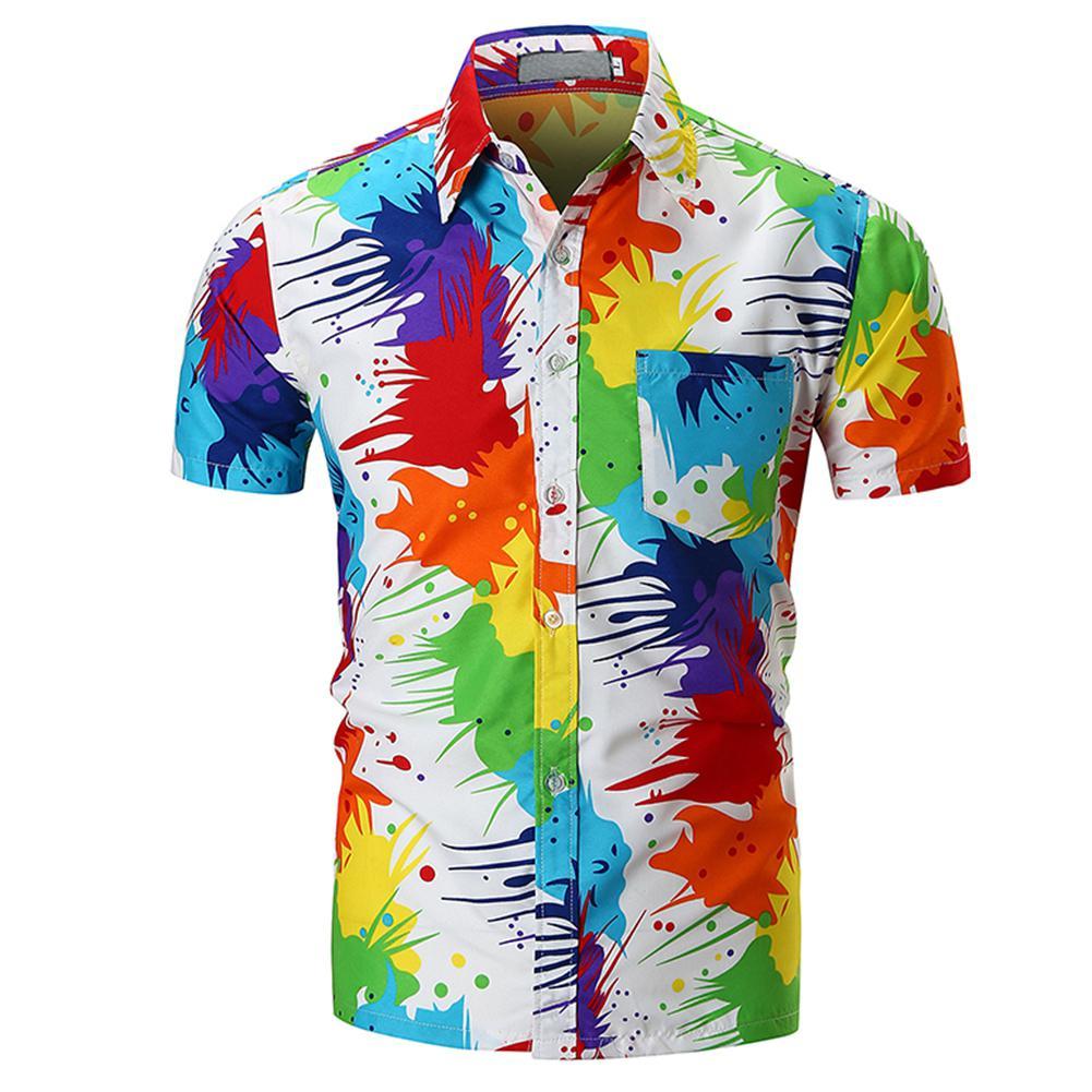 MISSKY Men Summer Shirt Stylish Unique Pigment Printing Shirt Beach Blouse Tops Short Sleeve Cotton Shirt Male Clothes