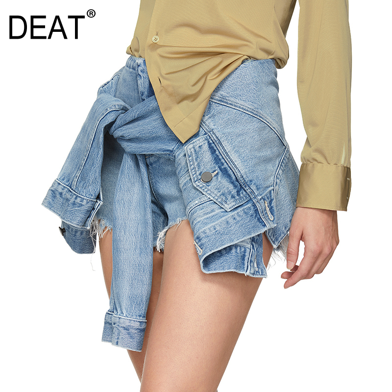 DEAT 2020 New Spring And Summer Fashion Women Shorts Denim Splices With Sleeves Fake Two Pieces Female Sexy WF61405XL