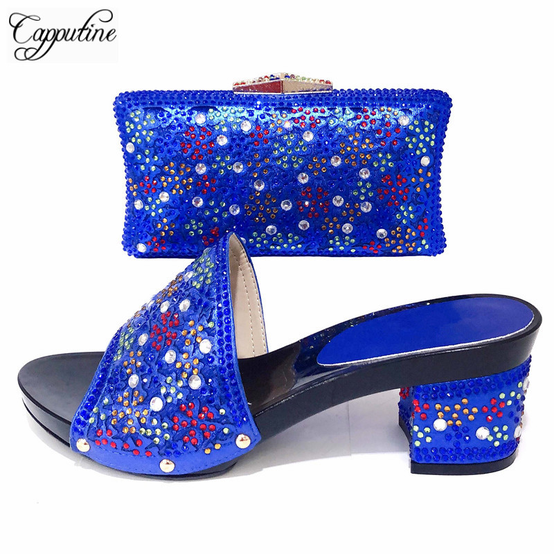 Capputine Nigerian Rhinestone Woman Shoes And Bag To Match Set African Fashion Pumps Shoes And Bags Set For Wedding PartyCapputine Nigerian Rhinestone Woman Shoes And Bag To Match Set African Fashion Pumps Shoes And Bags Set For Wedding Party