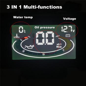 Samochód ciężarówka termometr do wody erature + woltomierz miernik miernik ciśnienia oleju LCD cyfrowy wyświetlacz z czujnik temperatury wody tanie i dobre opinie 55mm With Sensors Plastic Shell 325g Oil Pressure Gauge + Voltmeter Voltage Gauge + Water Temperature Gauge 95mm Front 18mm