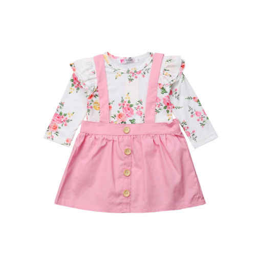 US Toddler Kid Baby Girl Romper Tops+Straps Skirt Dress Princess Outfits Clothes