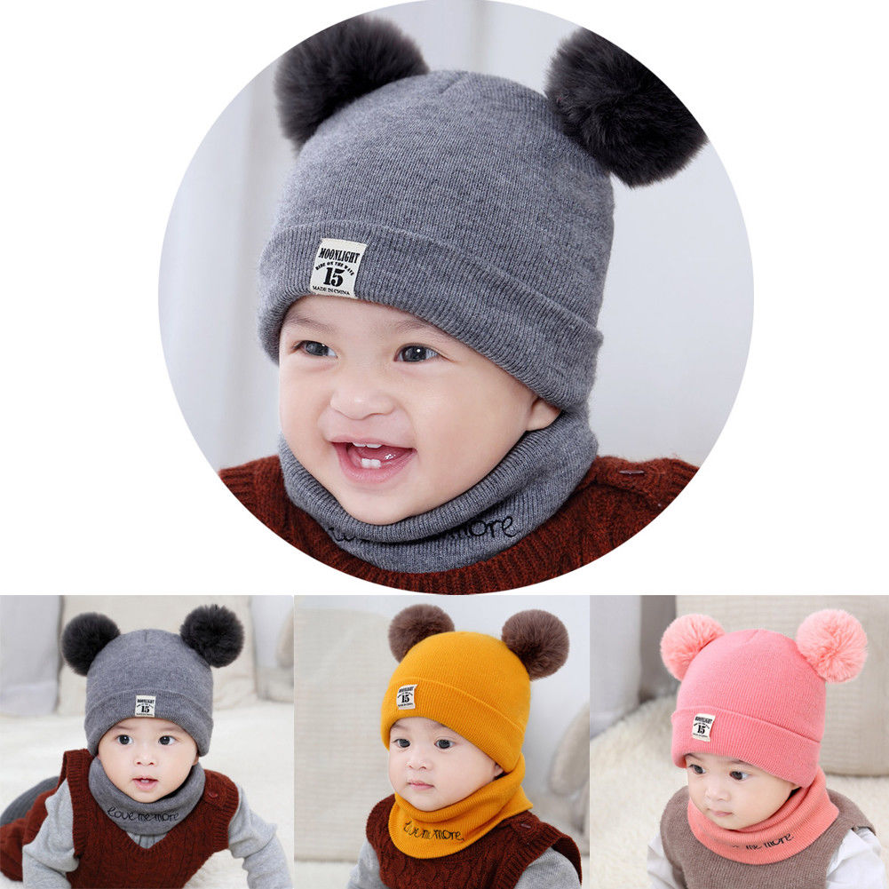 Toddler Kids Baby Boy Girl Winter Warm Pom Bobble Hat Knit Beanie-Cap Scarf Set