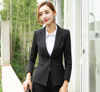 Office Ladies Work Wear Coat Women Blazer Suit Black Winter Elegant Formal Long Sleeve Slim Jacket Solid Notched Collar