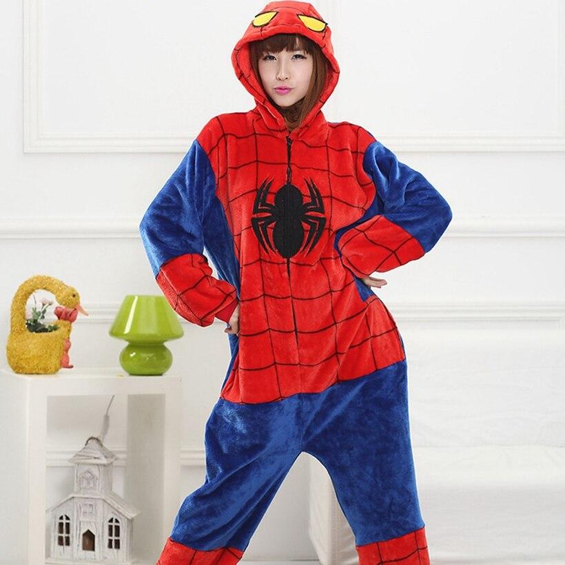 Winter Family Mother Father Kids Female Spiderman Animal pajamas Girl Boy pajamas Woman Hooded Home Clothing Kigurimi