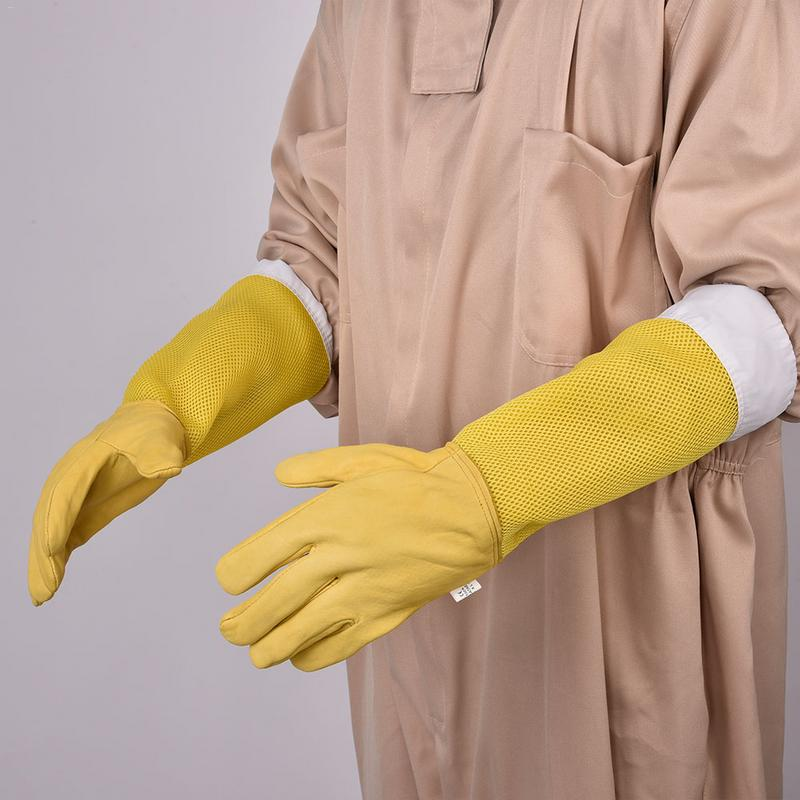 Beekeeping Gloves Yellow Netted Goatskin Gloves Bee Protective Gloves Tools #10
