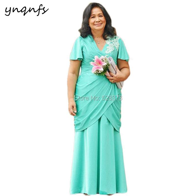 c794934105d YNQNFS M146 Elegant Chiffon V Neck Short Sleeves Pleats Turquoise Mother of  the Bride Dresses Plus