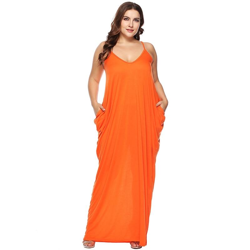 Women Plus Size Dress Spaghetti Straps Long Dress V Neck Sleeveless Pockets Baggy Summer Beachwear Casual Maxi Dress Vestidos
