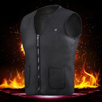 Fashion Men Women Winter Electric Heated Vest Heating Waistcoat Thermal Warm Outdoor Jacket Winter USB Heater Black Vest Coat