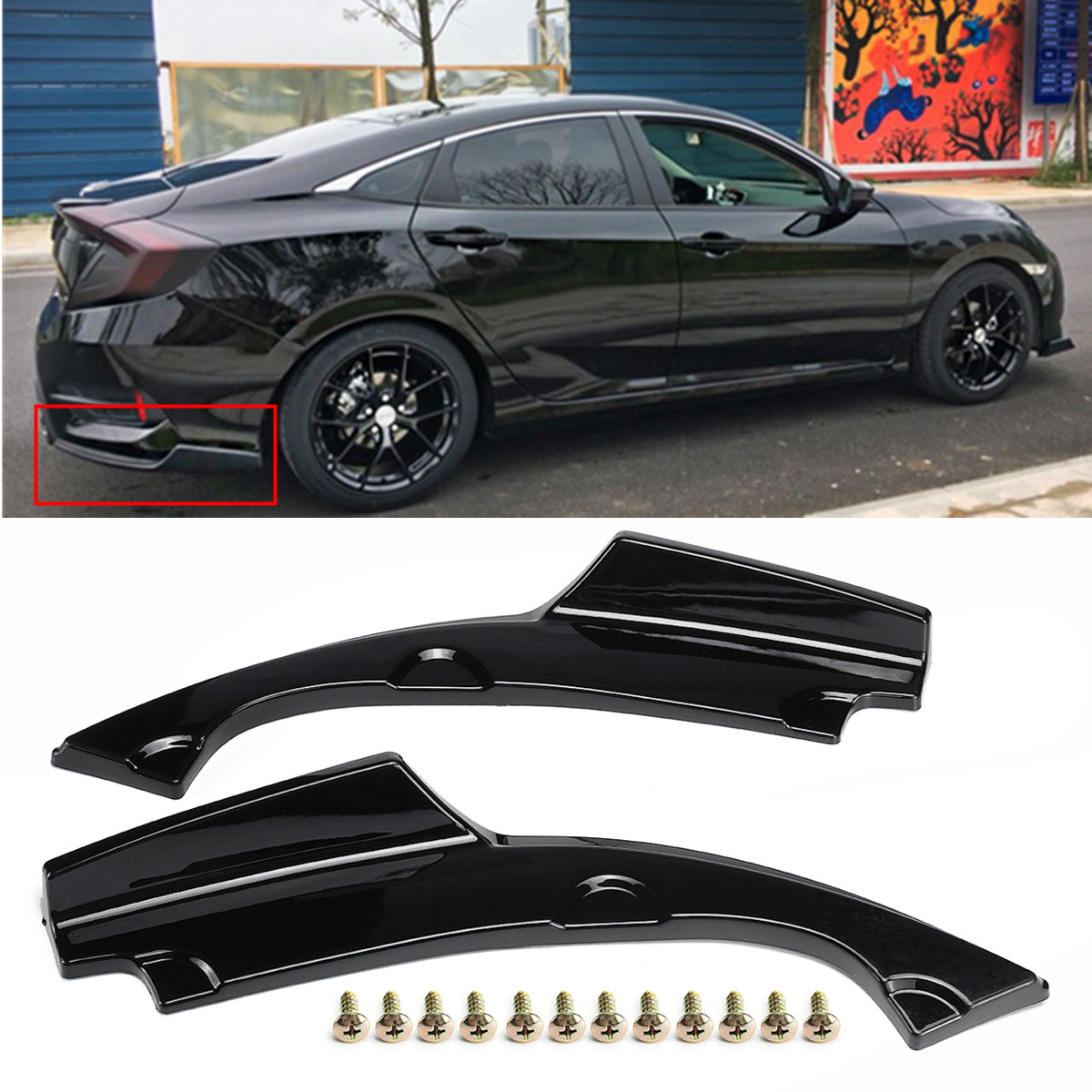 2Pcs Car Rear Bumper  Lower Corner Valance Covers Splitter Spoilers Apron Corner Valance for Honda for Civic 4DR 2016-2018
