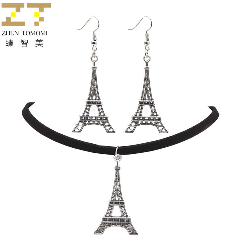 2018 Fashion Black Velvet Leather Bijoux Vintage Retro Eiffel Tower Pendants Choker Necklace/Drop Earrings Women Jewelry Sets