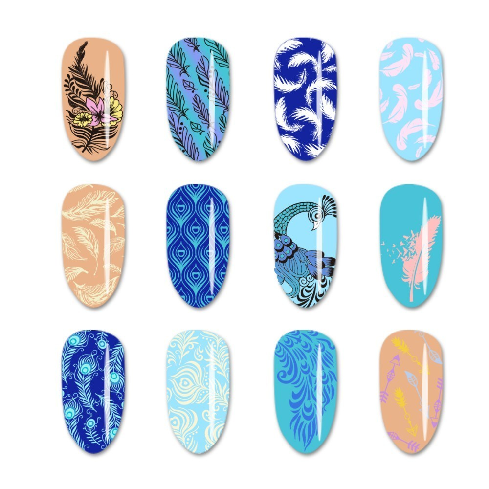 Beautybigbang Nail Art Stamping Plate Feather Image 6 12cm Stainless Steel Nail Template Print Stencil Sliders Stamping Plates in Nail Art Templates from Beauty Health