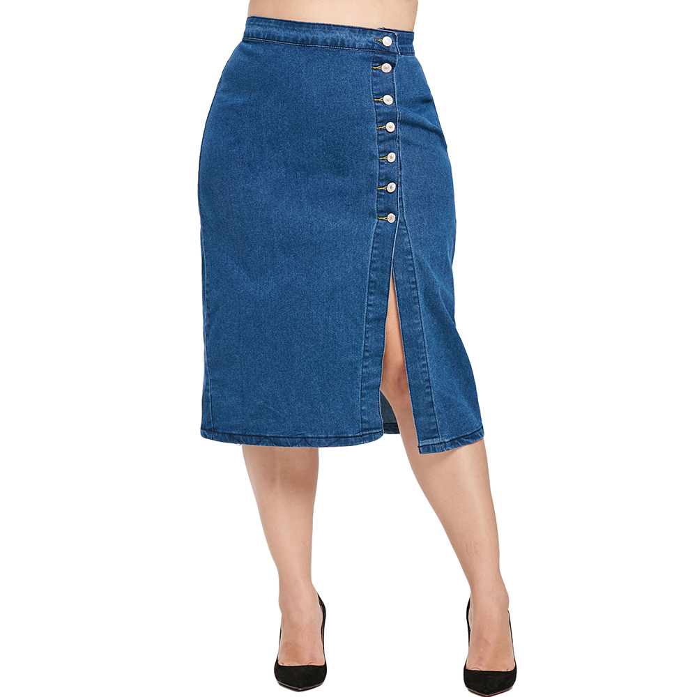 Wipalo Plus Size Slit Button Fly Women Bodycon Denim Skirt Blue Solid Straight Skirts Large Size Mid-Calf Button Fly Streetwear