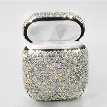 Funda protectora para auriculares, funda innovadora con diamantes de imitación con Bluetooth, funda impermeable a prueba de polvo para Airpods de Apple