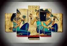 5 Panels Abstract Papyrus Egyptian Wall Art Picture Home Decoration Living Room Canvas Print Printing On