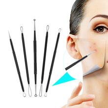 цена на 5PCS Blackhead Remover, Pimple Comedone Extractor, Dual- Ended Acne Removal Kit, With Metel Box, Blemish Whitehead Popping Tool