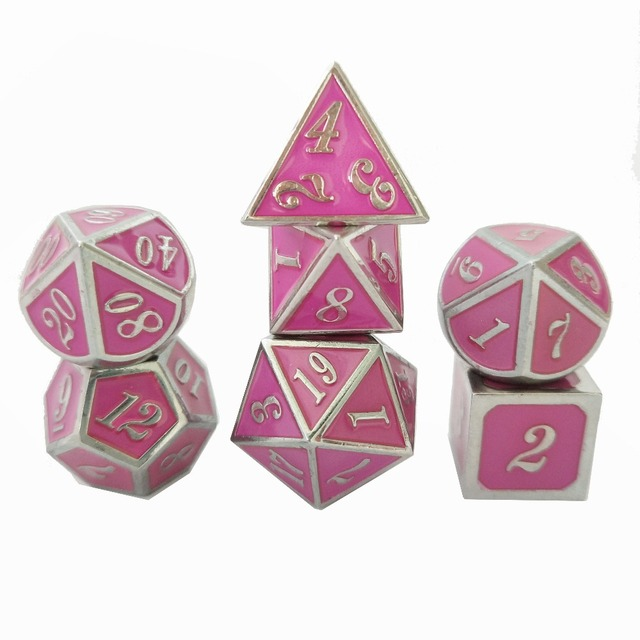 Factory direct sales, wholesale and retail new font color dungeons & dragons 7pcs/ set of creative RPG dice D&D metal dice