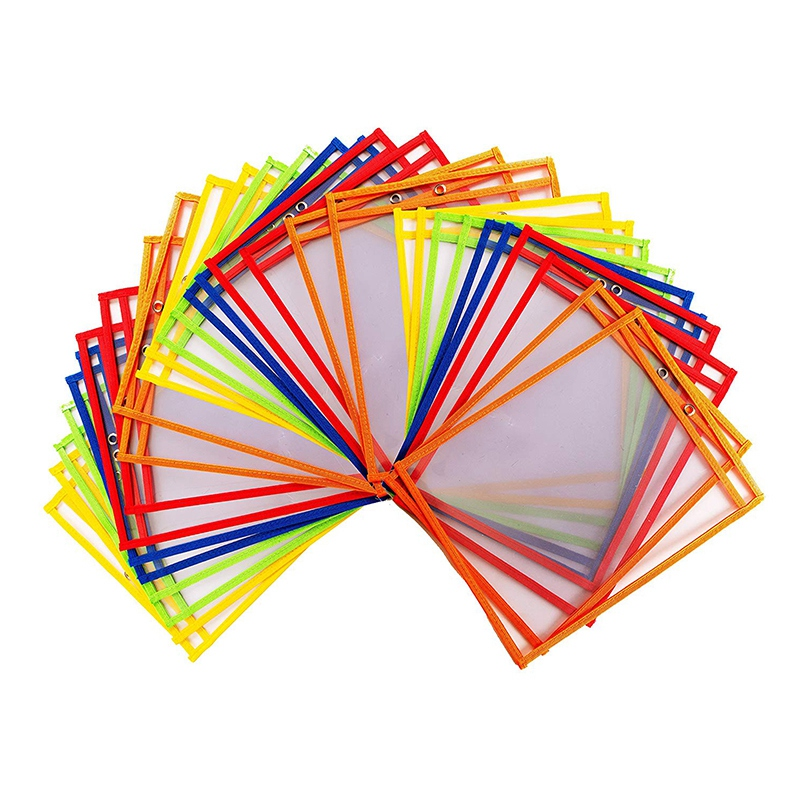 30 Multicolored Dry Erase Pockets,Oversize 10 X 13 Pockets,Perfect For Classroom Organization,Reusable Dry Erase Pockets,Teach