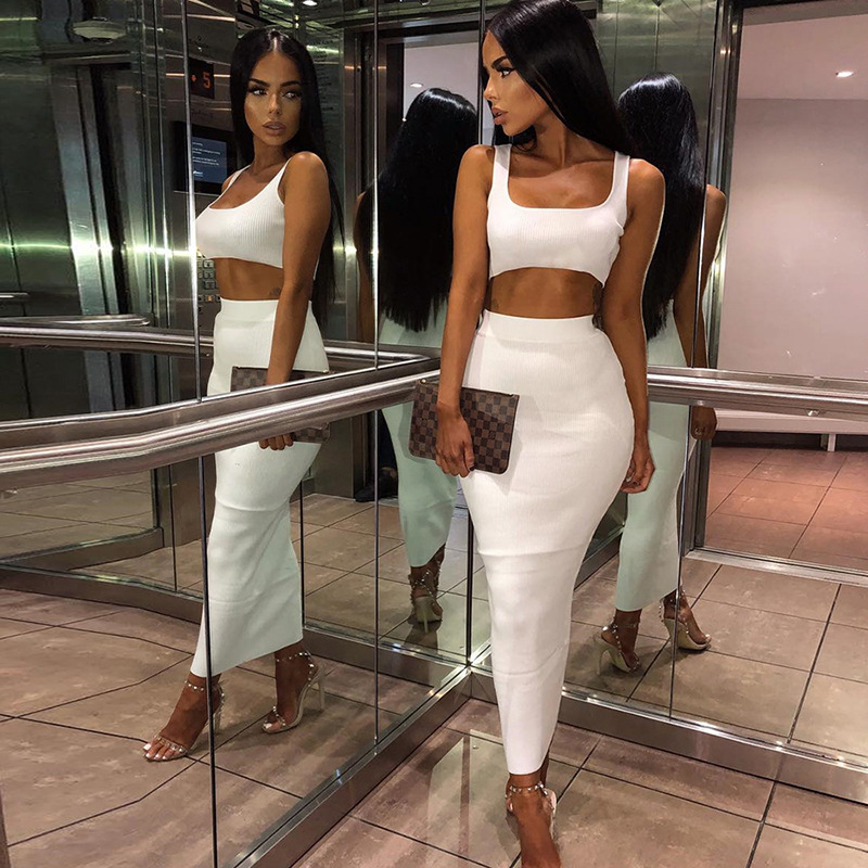 Toplook Women Two Pieces Fashion Outfits Solid Fluorescence Sexy 2pcs Camisole Top High Waist Skirt 2019 Female Party Club Sets