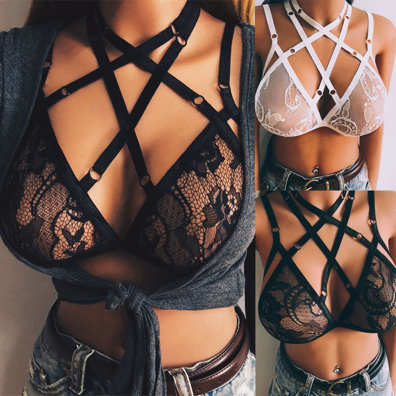 Sexy Women Elastic Strap Frame Harness Bra Crop Tops Ladies Lace Floral Bandage Harness Elastic Goth Cage Bras