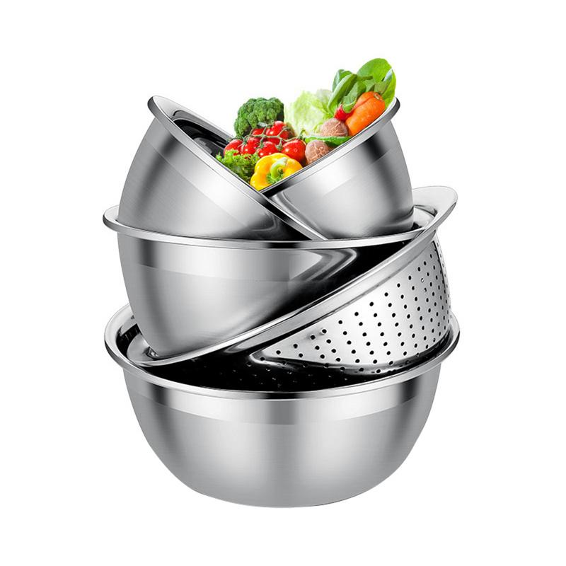 5PCS Stainless Steel Basin Sieve Washing Vegetable Pots Fruit Bowls For Beating Eggs Noodles Seasoning Kitchen Accessories
