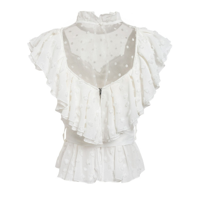 Elegant Womens Fashion Chiffon Tops Short Butterfly Sleeve Stand Collar Shirt Ladies Transprent Mesh Womens Tops and Blouse