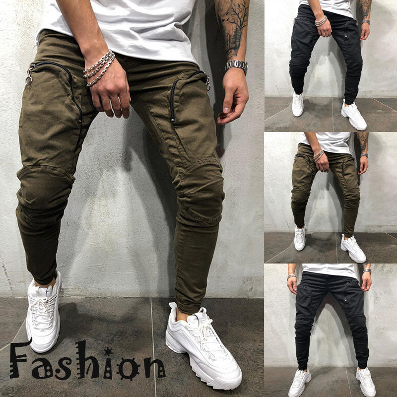 Hot Men Slim Fit Trousers Casual Pencil Jogger Cargo Pants Men Urban Straight Leg Long Pencil Pants Pants Zip Pocket Trousers