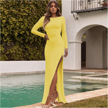 Try Everything Yellow Summer Dress 2019 Women Long Sleeve Split Prom Elegant Backless Sexy Party
