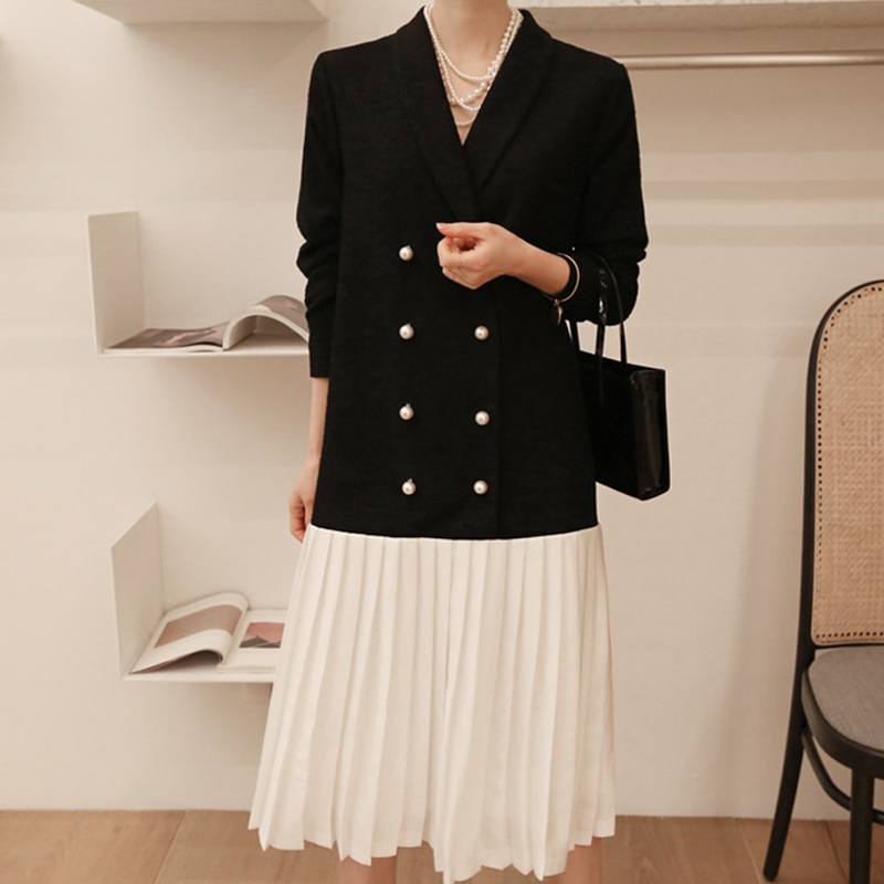 SHENGPALAE 2019 New Spring Black Patchwork Hem Dresses V Collar Long Sleeve Vintage Fashion Tide Women