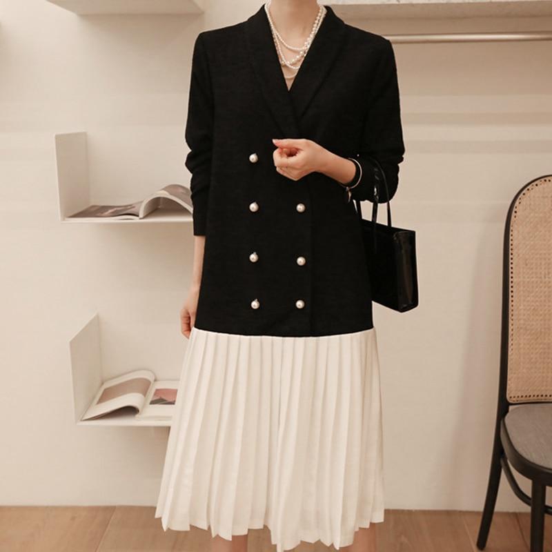 SHENGPALAE 2019 New Spring Black Patchwork Hem Dresses V Collar Long Sleeve Vintage Fashion Tide Women