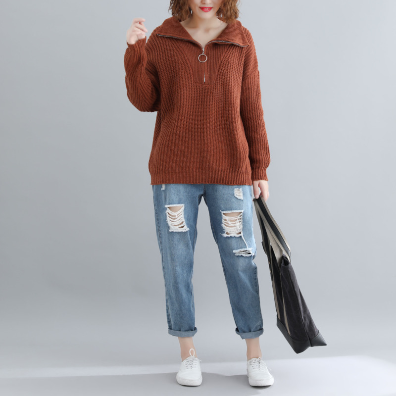 Turn Sleeve Coffee Zipper Down Winter Sweater Buykud Knitted Pullovers Batwing Long Casual Women Cotton Red Collar Solid 6vq55pWY