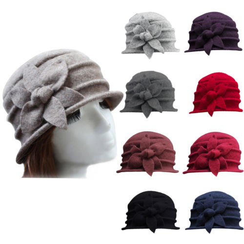 Women Lady Wool Flower Bucket Hat Winter Warm Church Cloche Beanie Cap New