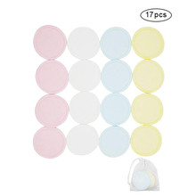 New arrival 17Pcs Reusable Cotton Pads Make up Facial Remover double layers Wipe Cleaning Washable with 1 Laundry Bag