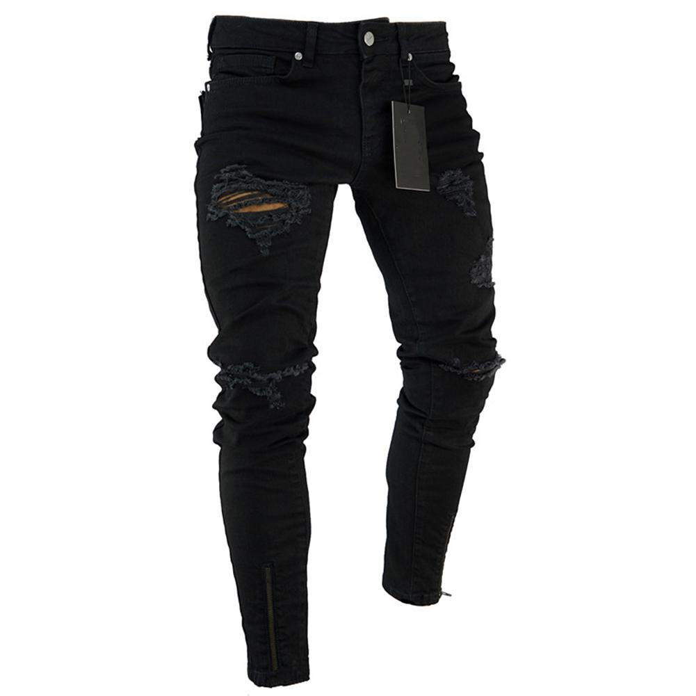 Skinny Jeans Pant Trousers Destroyed Stretch Slim-Fit Zipper Fashion Denim with Men Frayed