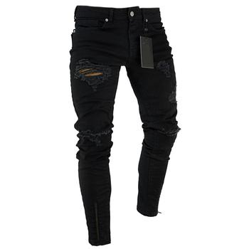 Fashion Men Ripped Skinny Jeans Stretch Destroyed Frayed Slim Fit Denim Pant with Zipper Pencil Pants Trousers Men Clothes 1