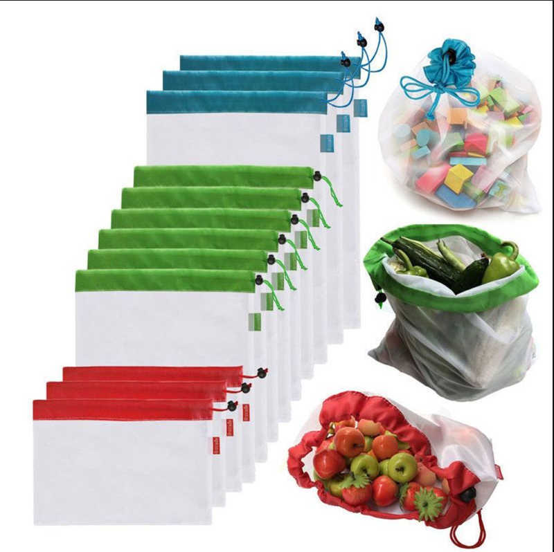 Mesh Laundry Bags Mesh Bag 5pcs Reusable Produce Bags Rope Vegetable Fruit Toys Storage Pouch Washable Organizer Bags Baskets