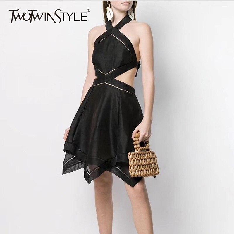 TWOTWINSTYLE Summer Sleeveless Dress For Women Backless High Waist Bandage Irregular Knee Length Dresses Female 2019