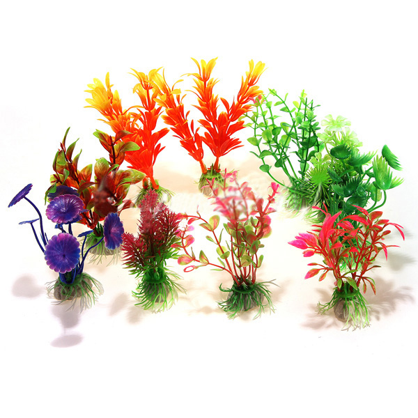 10 X Mixed Artificial Aquarium Fish Tank Water Plant Plastic Decoration Ornament 50% OFF