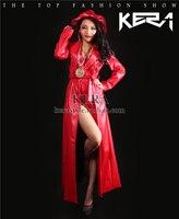 S 3XL! Новинка 2019 Женская мода Тонкий 2ne1 DJ супер длинные красные кожаные пальто для выступлений плюс размеры певица костюмы
