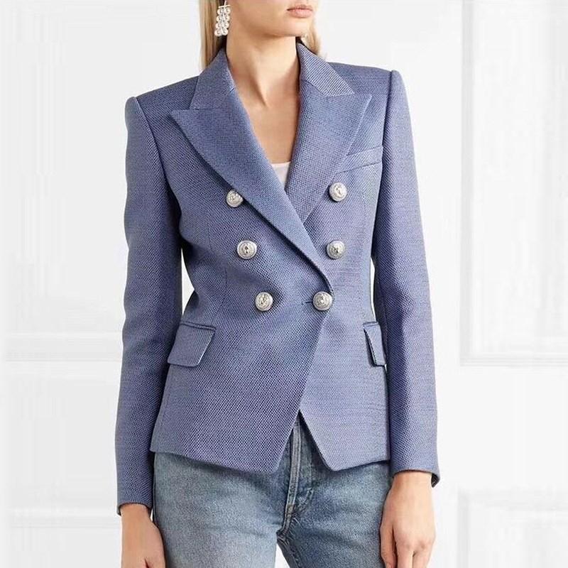 À Mode Boutons Femmes Élégant 2019 Blazer Manches Argent Double Croisé Outwear Nouvelle Veste Lion Longues De Bleu 5t77gq