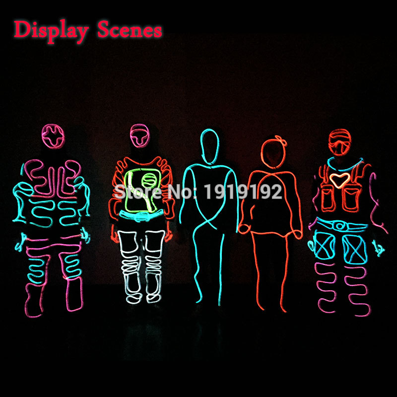 LED-drakter Lysende kostymer Illuminated Glowing Hooded Men EL Klær Cold Strip Dance Fashion Talent Vis LED Light Clothing