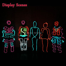цены LED Suits Luminous Costumes Illuminated Glowing Hooded Men EL Clothes Cold Strip Dance Fashion Talent Show LED Light Clothing